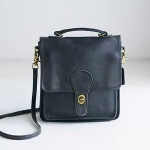Vintage Coach Black Leather Station Bag